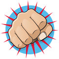Vintage pop art punching fist great illustration of comic book style directly at you Royalty Free Stock Photos