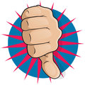 Vintage pop art thumbs down great illustration of comic style up gesturing negative disapproval Stock Photography