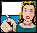 Vintage pop art woman with pointing hand illustration of comic book style her directly at you Royalty Free Stock Image