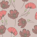 Vintage poppies. Seamless hand drawn pattern for the design Royalty Free Stock Photo