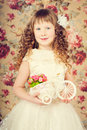 Vintage portarait little girl with long curly hair Stock Images