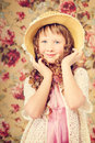 Vintage portarait little girl with long curly hair Royalty Free Stock Photo