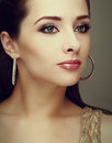 Vintage portrait of beautiful perfect makeup woman looking Royalty Free Stock Images