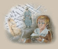 Vintage portrait illustration schoolboy Stock Images