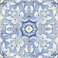 Vintage portuguese blue tiles Royalty Free Stock Photo