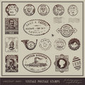 Vintage postage stamps Stock Photography