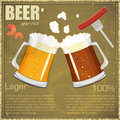 Vintage postcard, cover menu - Beer, beer snack Royalty Free Stock Images