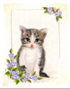 Vintage postcard with kitten.