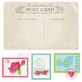 Vintage Postcard and Postage Stamps Royalty Free Stock Photo