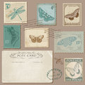 Vintage postcard and postage stamps with butterflies for wedding design invitation scrapbook Stock Images