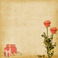 Vintage postcard with roses and gifts Royalty Free Stock Images