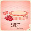 Vintage postcard - sweet candy on pink background Royalty Free Stock Photo