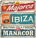Vintage postcards layouts with popular touristic destination in Spain