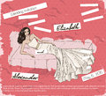 Vintage poster with beautiful wedding dress vector illustration eps Stock Image