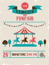 Vintage poster with carnival, fun fair, circus Royalty Free Stock Photo