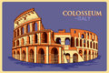 Vintage poster of Colosseum in Roma famous monument in Italy