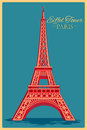 Vintage poster of Eiffel Tower in Paris famous monument in France Royalty Free Stock Photo