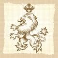 Vintage poster with engraving lion design