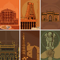 Vintage poster of famous landmark place with heritage monument in India