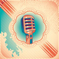 Vintage poster with microphone. Royalty Free Stock Images