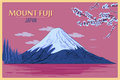Vintage poster of Mount Fuji in Tokyo, Japan Royalty Free Stock Photo