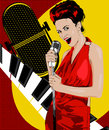 Vintage poster with retro woman. Red dress on woman. Retro microphone. Piano keys. Jazz, soul and blues live music concert poster. Royalty Free Stock Photo
