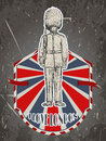 Vintage poster with royal british guard on the grunge background. Retro illustration in sketch style ' I love Lo Royalty Free Stock Photo