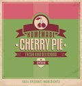 Vintage poster template for cherry pie design with food and drink concept retro sign homemade with natural ingredients Royalty Free Stock Images