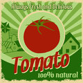 Vintage poster for tomato farm template vector illustration Stock Photo