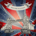 Vintage poster with Tower Bridge on the grunge background. Retro illustration in sketch style ' I love London' Royalty Free Stock Photo