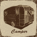 Vintage Poster with Trailer, Vehicles Camper Vans Caravans typographic, silhouette trailer, caravan. Print for textile