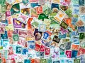 Vintage postmarks, stamp collecting. The hobby and philately concept. Royalty Free Stock Photo