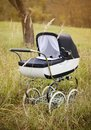 Vintage pram baby outdoors in autumn nature Stock Images