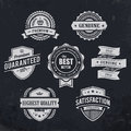 Vintage premium quality labels on blackboard background set of retro styled badges vector illustration Royalty Free Stock Photography