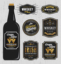 Vintage premium whiskey brands label design template resize able and free font used vector illustration Stock Images