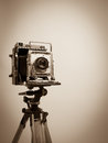 Vintage Press Camera on Wooden Tripod Royalty Free Stock Photo