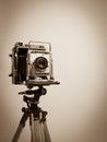 Vintage Press Camera on Wooden Tripod Royalty Free Stock Image