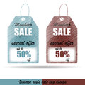 Vintage price tags design vector sale or discount tag with list Royalty Free Stock Photo