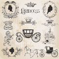 Vintage princess girl set for design and scrapbook in Royalty Free Stock Images