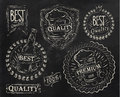 Vintage print design beer elements chalk on the subject of quality stylized under a drawing on the theme of on a black Royalty Free Stock Photography