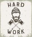 Vintage prints label for lumberjack style