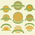 Vintage product labels set yellow and green Stock Photos
