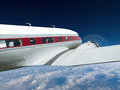 Vintage prop airplane aviation flight a retro passenger airline in in the sky above the clouds the old aircraft is flying with Stock Images