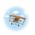 A vintage propeller-powered aircraft in the sky Royalty Free Stock Photo