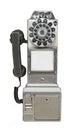 Vintage public payphone isolated. Royalty Free Stock Photo
