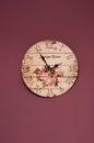 Vintage purple clock Royalty Free Stock Photo