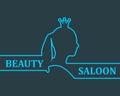Vintage queen silhouette. Medieval queen profile