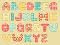 Vintage quilt alphabet. Royalty Free Stock Images