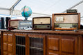 Vintage radio apparatus for sale at flea market Royalty Free Stock Images