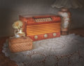 Vintage radio and lamp wood case with glass shade in table top setting Stock Image